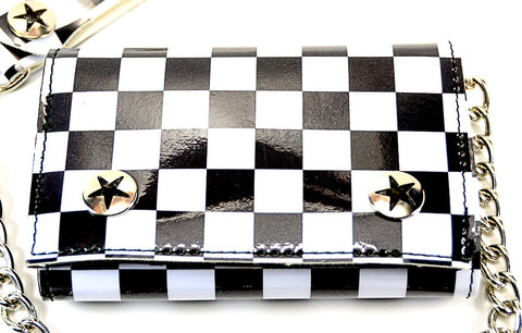 Black and White Checkered Trifold Wallet