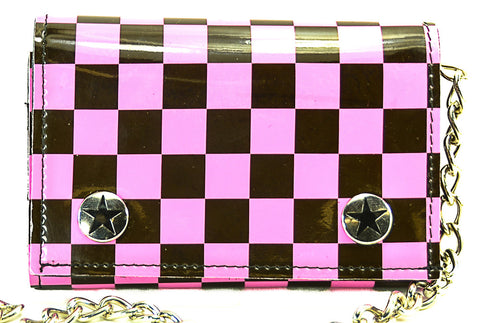 Pink and Black Checkered Trifold Wallet