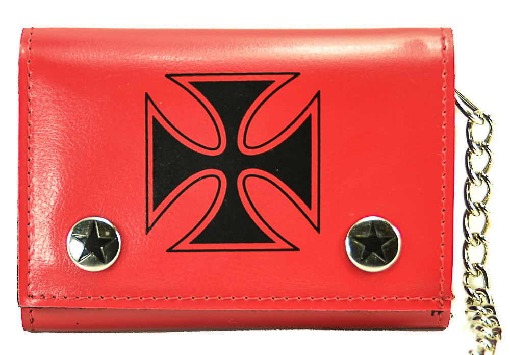 Red Iron Cross Trifold Biker Wallet