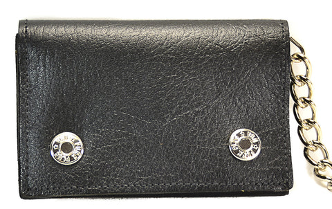 Plain Black Leather Trifold Biker Wallet