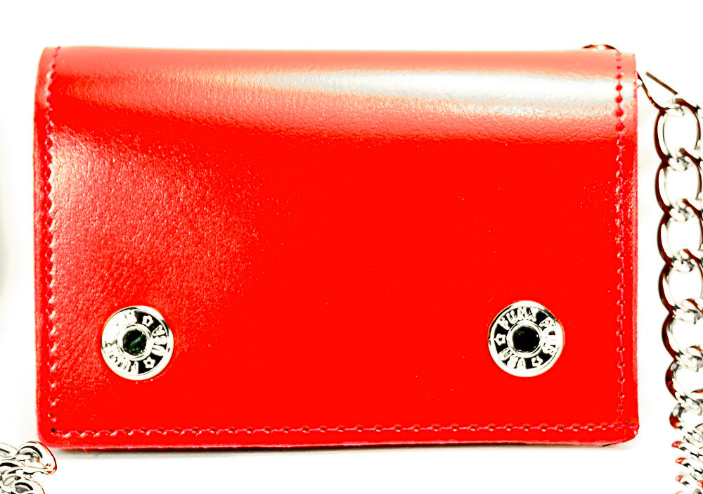 Plain Red Leather Trifold Biker Wallet