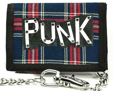 "Blue Plaid ""Punk"" Trifold Biker Wallet"