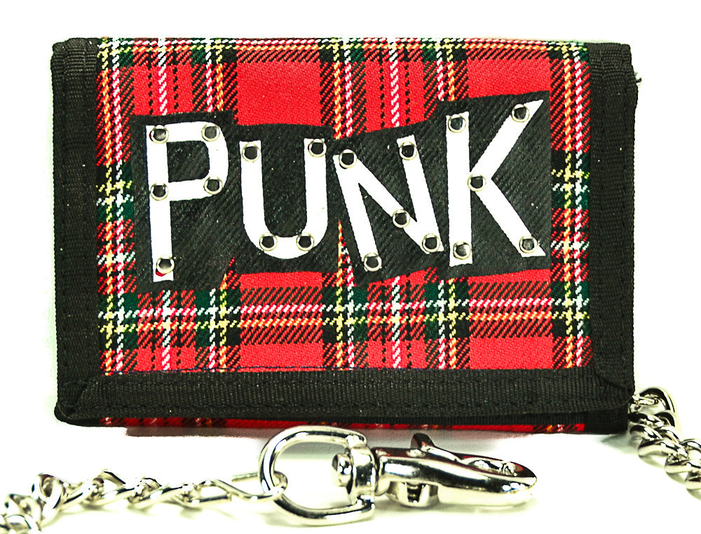 "Red Plaid ""Punk"" Trifold Biker Wallet"
