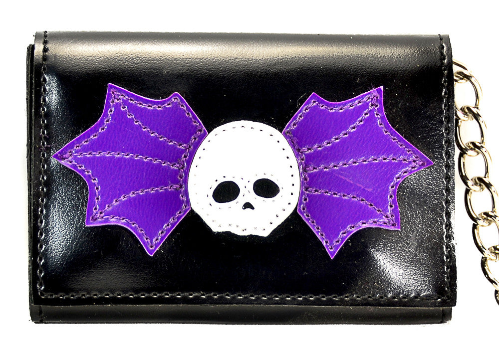 Purple Winged Skull Trifold Biker Wallet
