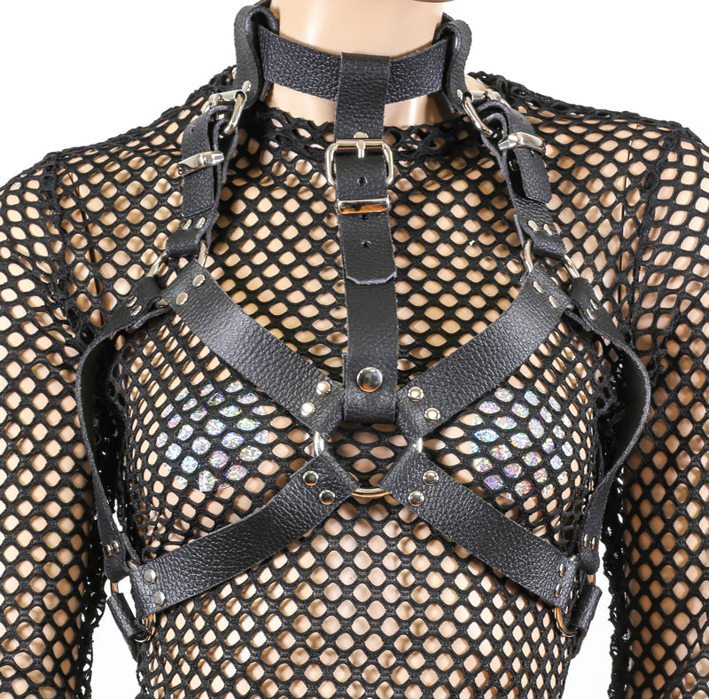 Black Vegan Leather Wide Bra Style Vegan Leather Harness With Choker
