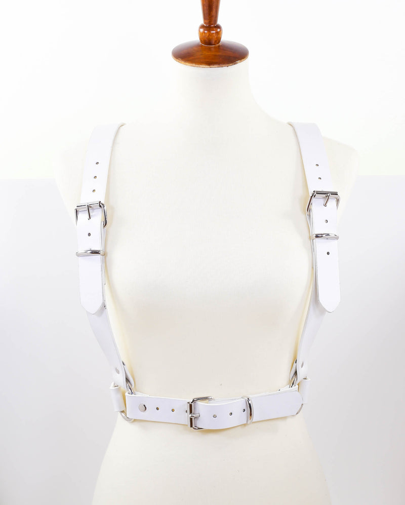 White Suspender Style Vegan Leather Harness