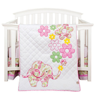 Elephant Flowers 3 Piece Crib Bedding Set