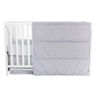 Circles Gray and White 3 Piece Crib Bedding Set