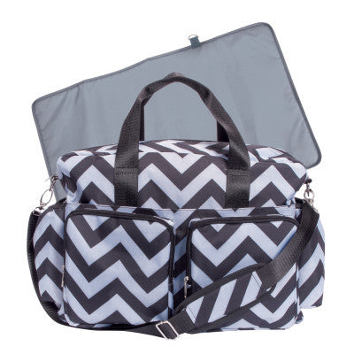 Baby Chevron Black and Gray Diaper Bag