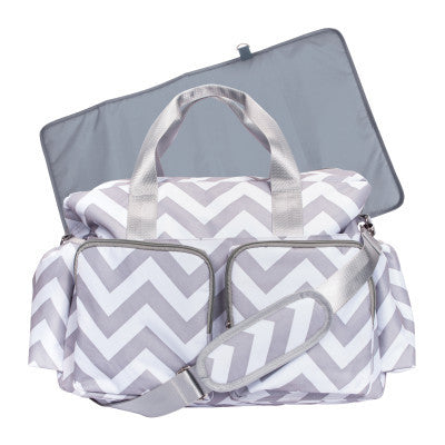 Chevron Deluxe Gray and White Baby Diaper Bag