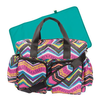 Chic Style Multicolored Chevron Diaper Bag