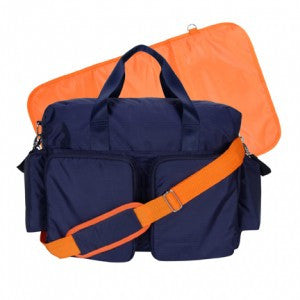 Exclusive Simple Navy Blue and Orange Diaper Bag