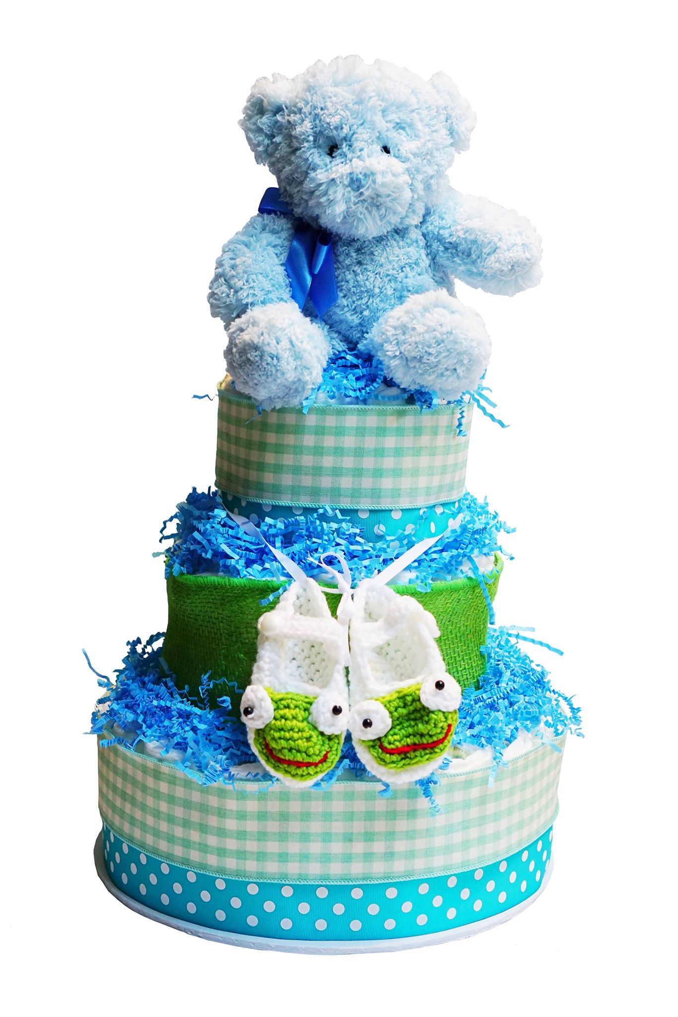 Baby shower diaper cakes new baby gift baskets crib beddings shoes baby cakes 3 tier diaper cake negle Images
