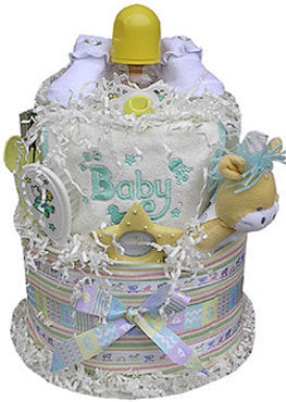 Neutral Baby Shower Diaper Cake Two Tiered