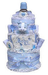 three tiered baby shower diaper cake for boy - blue