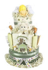 three tiered baby shower diaper cake - neutral