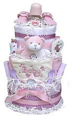 three tiered baby shower diaper cake for girl - pink