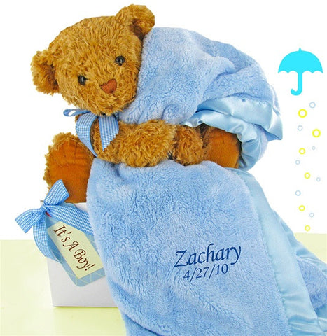 Baby Boy Luxurious Blanket Bear Set