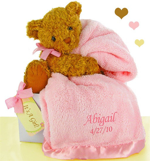 Pink Baby Bear Luxurious Blanket Set