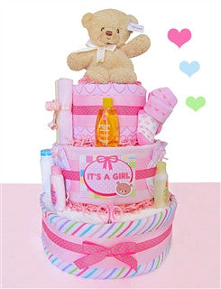 It's A Girl Three Tiered Diaper Cake