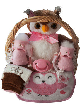 Big Owl New Baby Girl Gift Basket