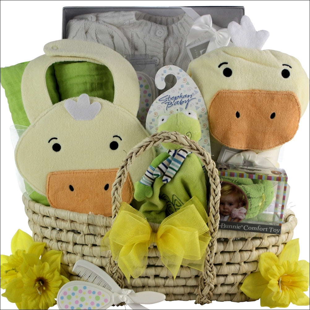 Neutral Baby Shower Surprise Gift Basket
