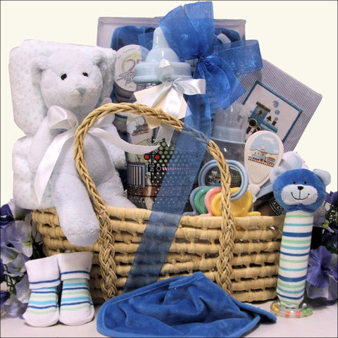 Baby Shower Elegant Baby Boy Essential Gift Basket