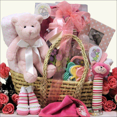 Baby Shower Elegant Essential Baby Girl Gift Basket