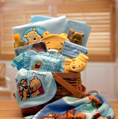 Winnie The Pooh Blue Baby Gift Basket