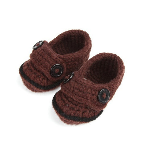 Brown Crochet Baby Boy Shoes