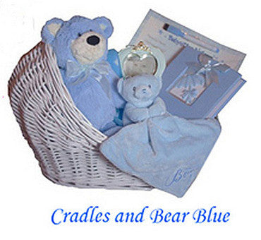 Blue Bear In A Cradle Gift Basket