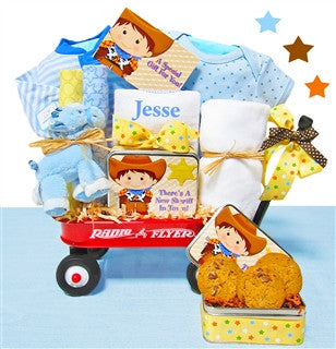 New Baby Cowboy Wagon Gift Basket