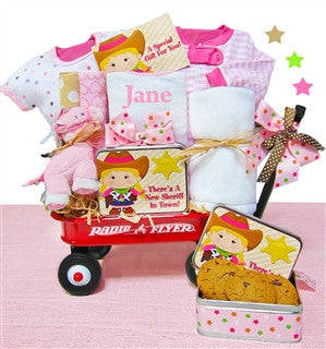New Baby Girl Cowboy Wagon Gift Basket