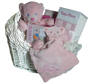 Pink Bear In A Cradle Gift Basket