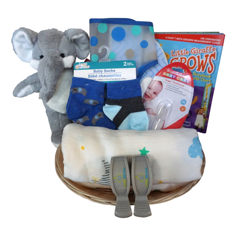 Elephant Baby Gift Basket for Baby Boy with Muslin Blanket, Growth Chart, Bib, Socks