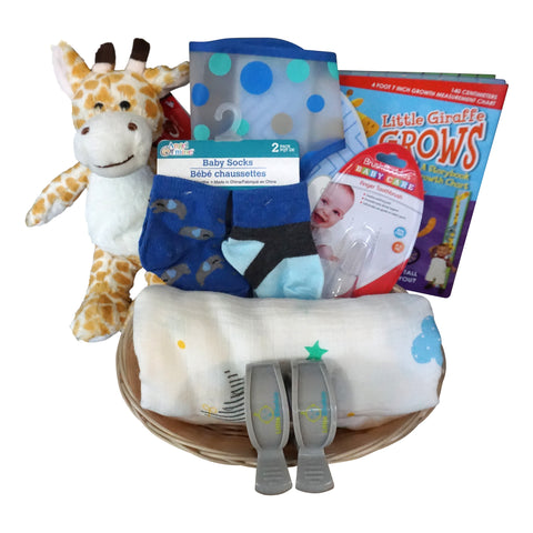 Giraffe Baby Gift Basket for Baby Boy with Muslin Blanket, Growth Chart, Bib, Socks