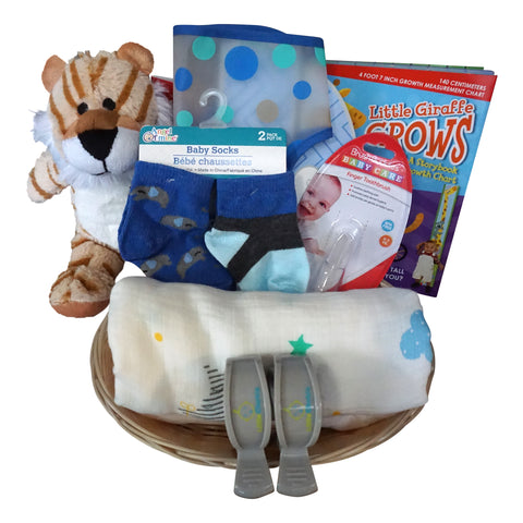 Tiger Baby Gift Basket for Baby Boy with Muslin Blanket, Growth Chart, Bib, Socks