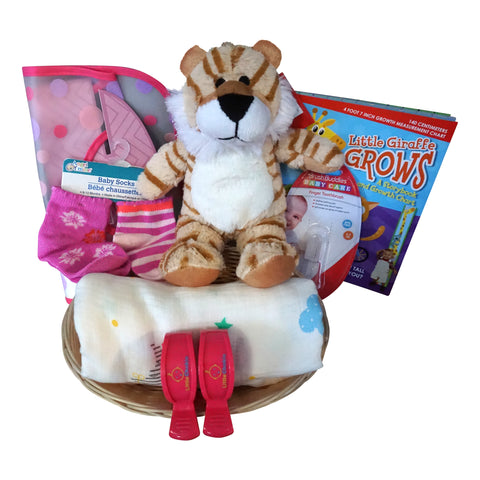 Tiger Baby Gift Basket for Baby Girl with Muslin Blanket, Growth Chart, Bib, Socks