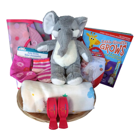 Elephant Baby Gift Basket for Baby Girl with Muslin Blanket, Growth Chart, Bib, Socks