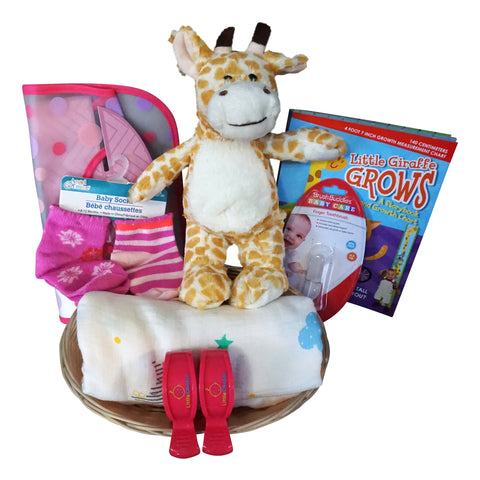 Giraffe Baby Gift Basket for Baby Girl with Muslin Blanket, Growth Chart, Bib, Socks