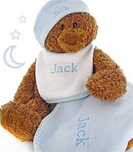 Big Bear Blue Baby Fleece Blanket Gift Set