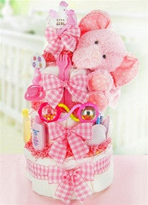 Pink Elephant Giggles Diaper Cake