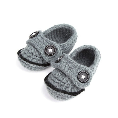 Grey Crochet Baby Boy Shoes