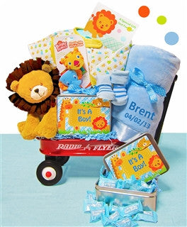 It's A Boy Jungle Wagon Gift Set