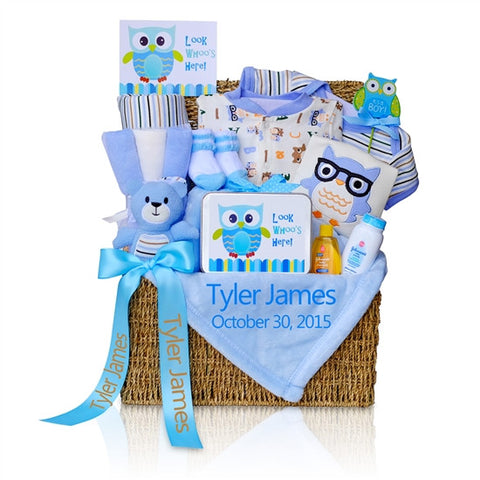 Baby Boy Look Whoo's Here Gift Basket