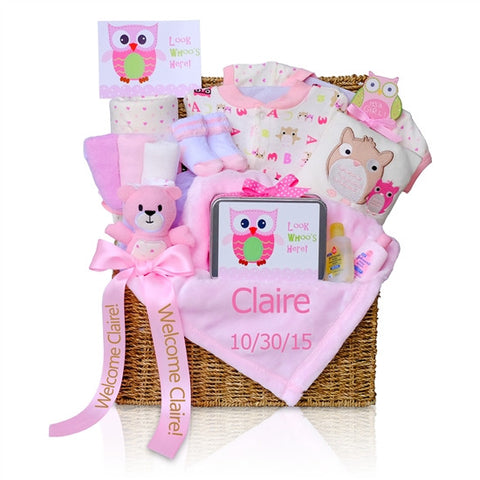 Baby Girl Look Whoo's Here Gift Basket