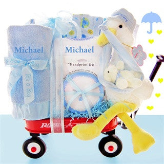 Personalized Stork Baby Boy Gift Wagon Set