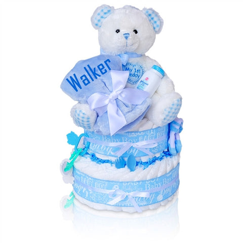 Baby Boy's First Teddy Bear Personalized Diaper Cake