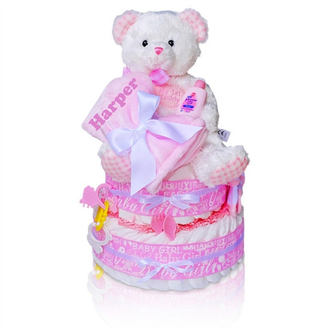 Baby Girl's First Teddy Bear Diaper Cake