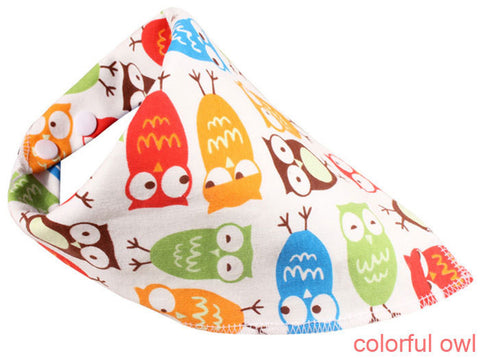Organic Colorful Owl Bandana Bib